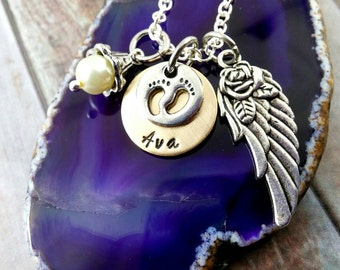 Infant Memorial Necklace ~ Baby Angel Wings ~ Funeral Gift ~ Stillborn ~ Miscarriage Necklace ~ Loss Of Child ~ Loss of Baby ~