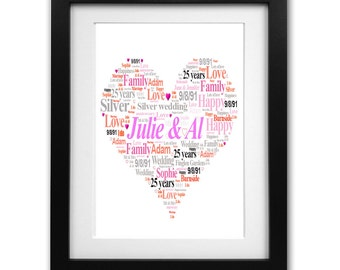 25 years married silver wedding print - unique personalised gift