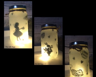 Night light, mood lighting, Alice in Wonderland Theme, Fairy Jar, Glitter Jar, Christmas, light up jars, mason jars