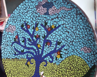 Hand cut stained glass mosaic plate.
