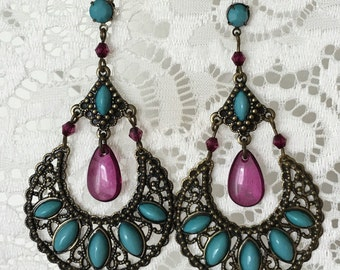 Bronze Tone Turquoise & Purple Chandelier Earrings