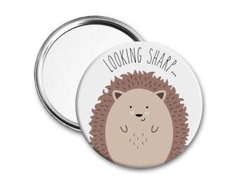 Hedgehog mirror - Mothers day gift - Round mirror - Make-up mirror - Small mirror - Compact mirror - Birthday gift