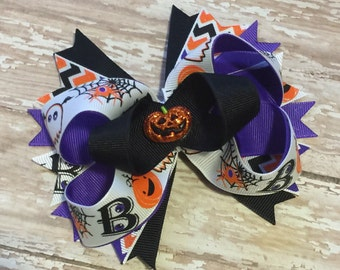 Ready to ship: Halloween Pumpkin Hair Bow or Headband