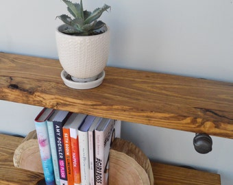 "Industrial Floating Shelves, 8"" Depth Book Shelf Industrial Shelving Fixer Upper Style Shelves, Pipe Shelves, Open Shelving, Kitchen Shelves"