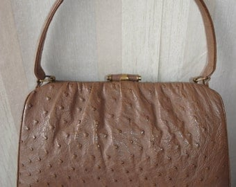 Vintage creamy brown genuine ostrich leather bag evening bag purse from 50's