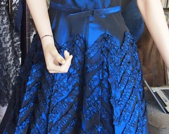 ON SALE-Mid-century dark blue ruffled evening gown-WAS 225