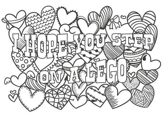 cute pictures coloring pages | Cute insult calming coloring page with ornaments. Sweary word