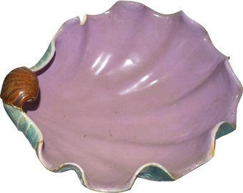 Joseph Holdcroft Majolica Shell Shape Bowl w/ Three Conch Shell Feet