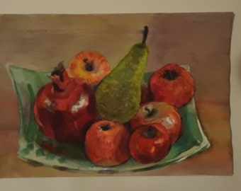 Art watercolor picture of fruit