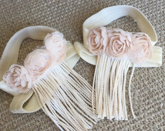 Ivory Baby Girl Sandals, Ivory Baby Barefoot Sandals, Fringe Baby Sandals, Ivory Baby Shoes, Cream Baby Shoes, Christening Shoes