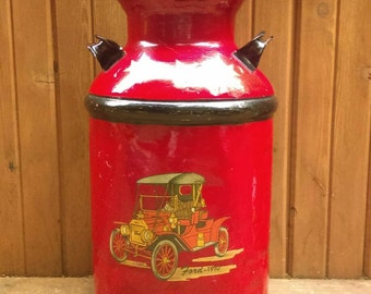 Antique Vintage Metal Milk Can Painted with Antique Cars-Red Painted Milk Can-1910 Ford and Cadillac Antique Cars-Man Cave