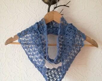 Sale! Crochet Linen Scarf - Blue Linen Scarf - Infinity Scarf