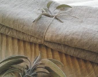 Natural Linen Tea Towel Set  - Natural Grey Hand Towels - Softened linen - Durable Tea towel -  Undyed Linen Yarn - Rough Linen Dish Towel
