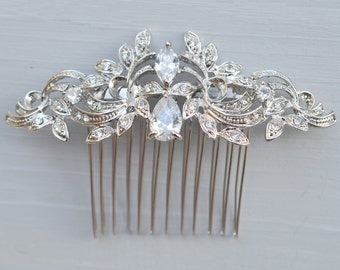 Silver Wedding Comb, Crystal Hair Comb, Bridal Hair Comb, Crystal Hair Comb, Hair Comb, Bridal Headpiece, Ref ABBY