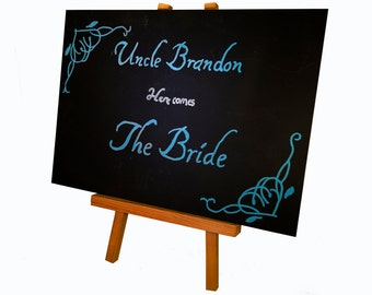 Personalised 'Here comes the Bride' sign.
