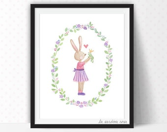 Watercolor bunny print, Nursery art, Forest animals prints, Nursery decor, Kids room painting