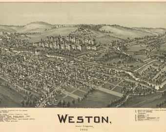 1900 Panoramic Map of Weston West Virginia