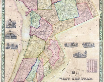 1851 Map of West Chester County New York