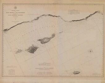 1882 Nautical Map of Santa Monica to Point Conception California
