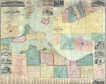 1863 Farm Line Map of Erie County Ohio Sandusky