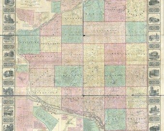 1868 Map of Grant County Wisconsin Platteville