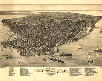 1884 Panoramic Map of Key West Florida Monroe County