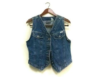 1980s denim vest // vintage hipster Jean vest // 1980s denim vest // boho vest // hipster vest // denim vest