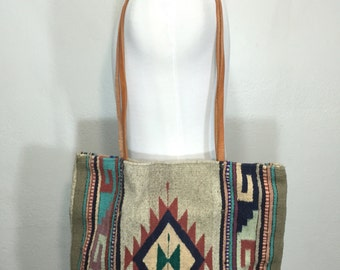 90's navajo pattern wool tote bag leather strap