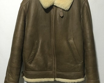 70's vintage leather mouton jacket bomber flight jacket made in new zealand mens size M