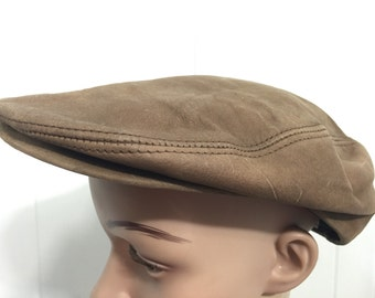 80's vintage leather newsboy hat made in usa mens