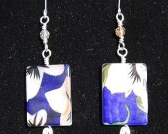 Blue and White Flower Earrings