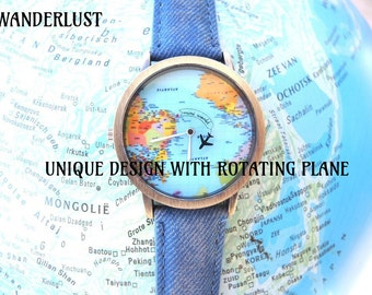 Unisex watch, unique design with rotating plane