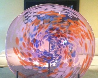 Fire and water-spotted Swirl Purple Plate