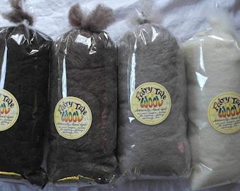 Natural Wool Roving- The Basics, 100g single shade