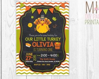 Little Turkey Birthday Invitation, Thanksgiving Birthday Invitation, Fall Birthday Invitation, Turkey Invitation, Thanksgiving Invitation