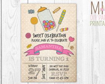 Vintage Candy Birthday Invite 3,Candyland Invitation, Sweet Shop Invitation, Candy Invitation, Candyland Birthday,candy invite, sweet invite