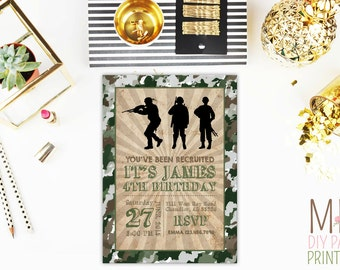 Military Invitation, army invitation, army party invitation, army birthday, military invitation, paintball, boot camp,army
