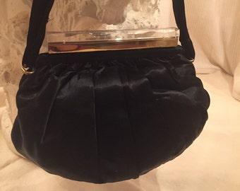Morris Moskowitz ~ MM ~ Black Satin Handbag/Evening Bag 1930's