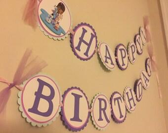 Doc McStuffins Happy Birthday Banner, party, decoration