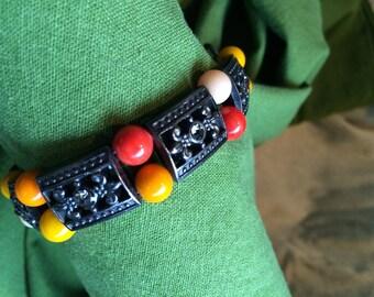 Orange Handmade Vintage beads with Gunmetal components