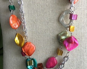Colorful shell and chain two strand necklace
