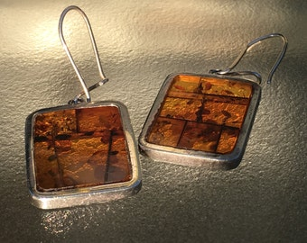 Sterling and resin earrings, amber stained glass windows