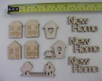 Wooden Embellishments - New Home - Card Making, Scrap Booking, Craft Larger Size