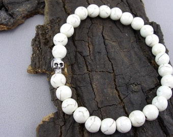 Bracelet skull and Howlithperlen