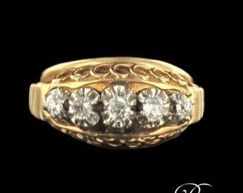 Ring diamonds with gold yellow gold 18K Platinum Tank