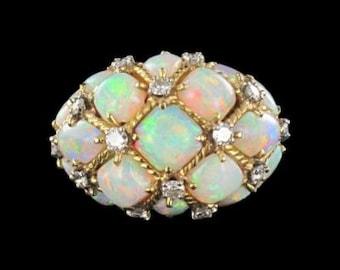 Ring old dome Opal diamond yellow gold 18K Tank