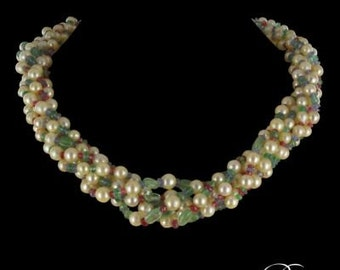Necklace pearls emeralds sapphires Ruby spinel modern Vintage 18K white gold