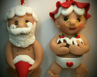 Naughty Mr & Mrs Clause Christmas tree decorations