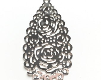 Gold or silver drop filigree charm 60x32mm