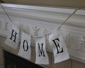 HOME Fabric Banner: HOME Farmhouse Style Banner